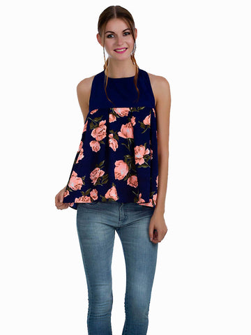 Blue Blooms Top