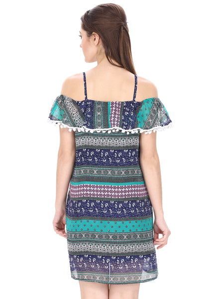 Print & Lace Off Shoulder Dress