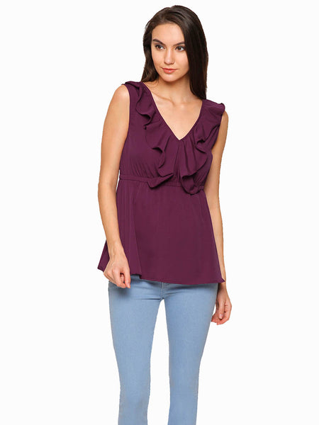Leah Ruffle Neck Top