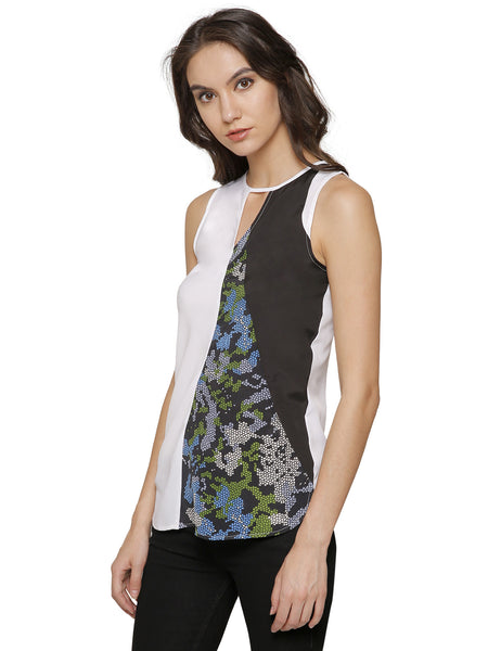 Ellie Printed Panelled Top