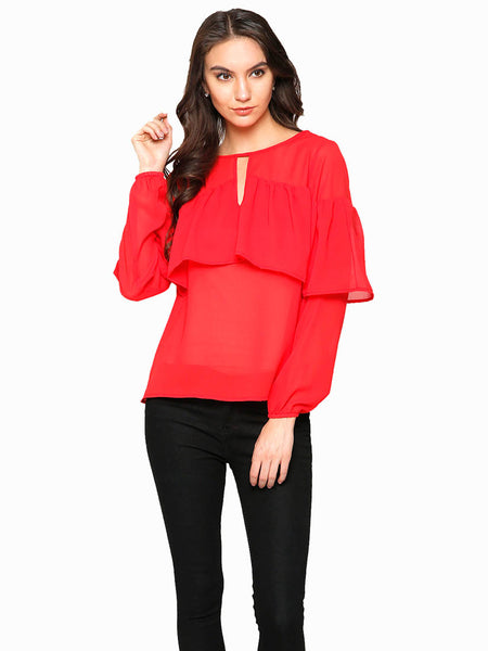 Rose Red Layered Top