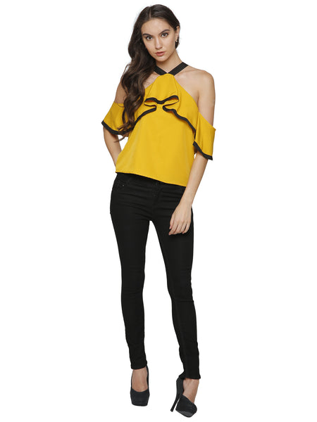 Sophie Mustard Cold Shoulder Top