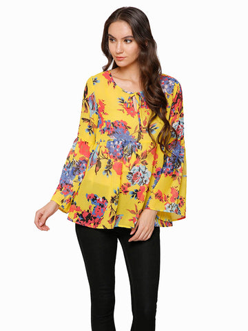 Lisa Floral Bell Sleeve Top