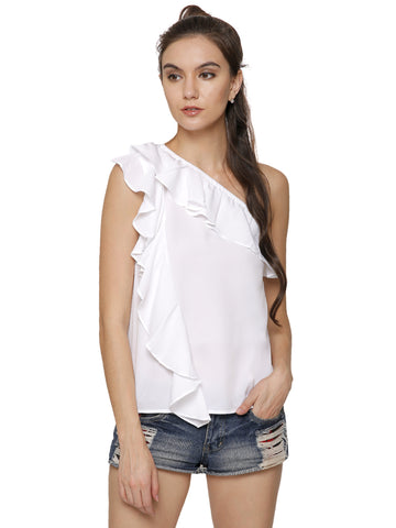 Ashley One shoulder White Top