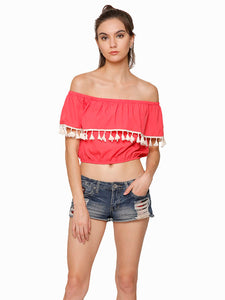 Emily Flared Tassel Crop Top