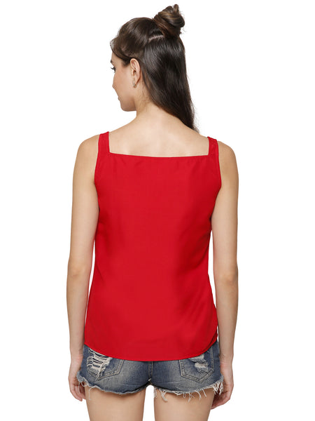 Lulu Red Frill Top