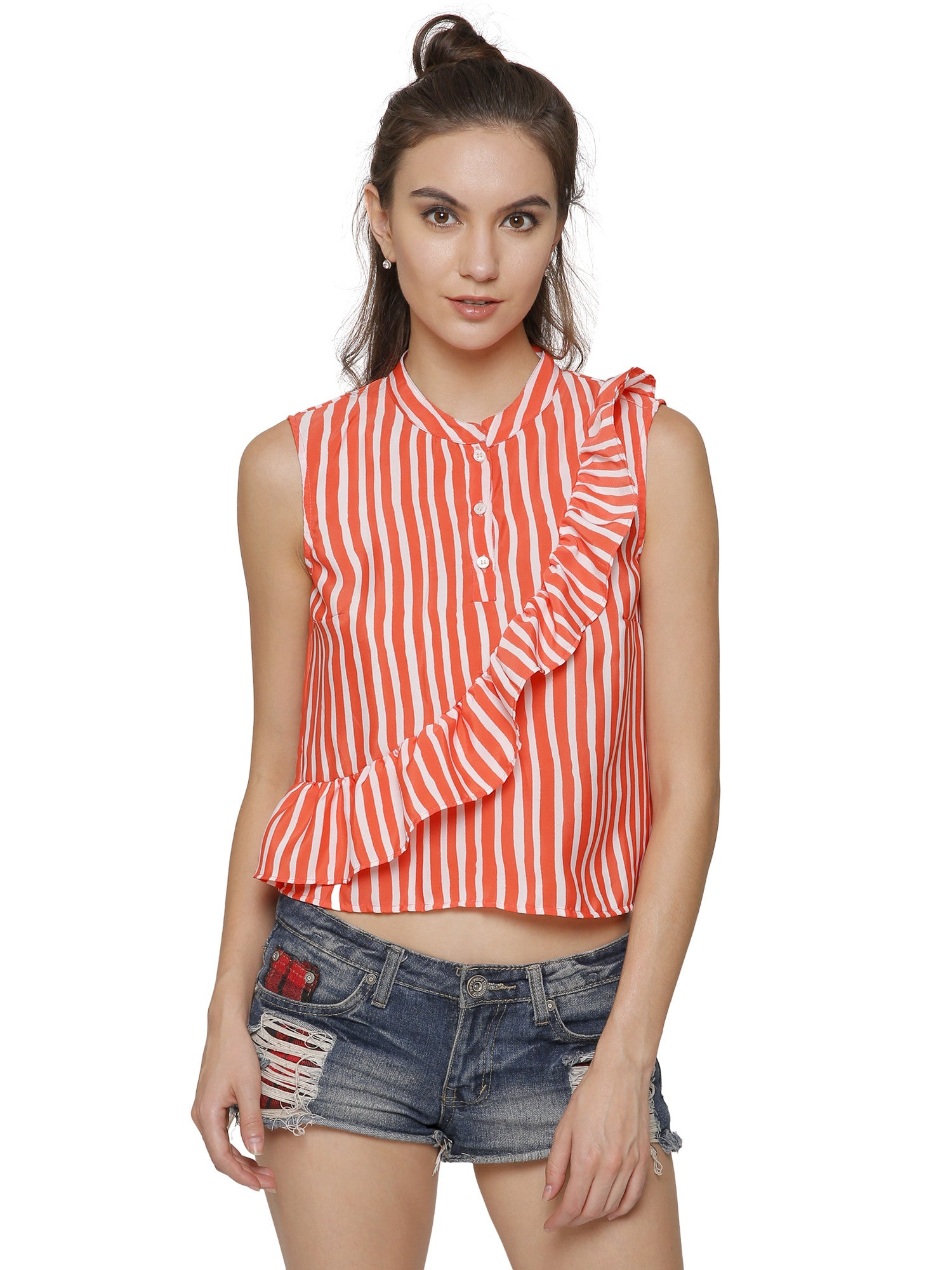 Cara Striped Ruffle Top