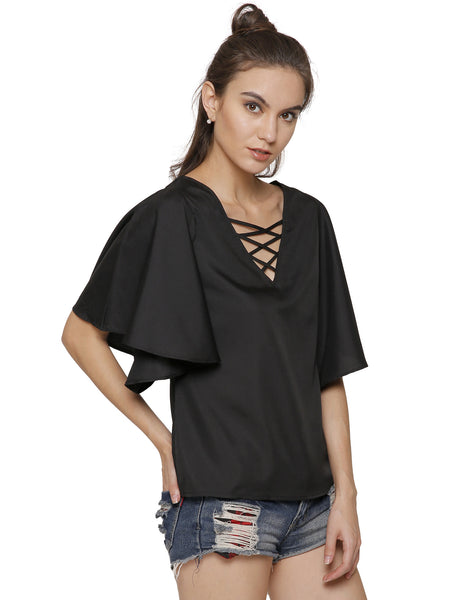 Khloe Caged Bell Sleeve Top