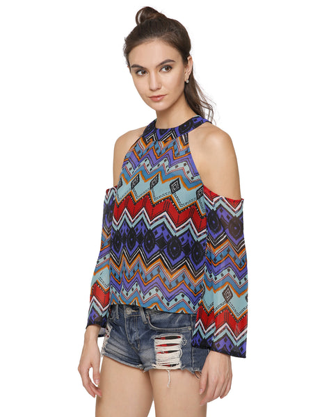 Miley Chevron Cold Shoulder Top