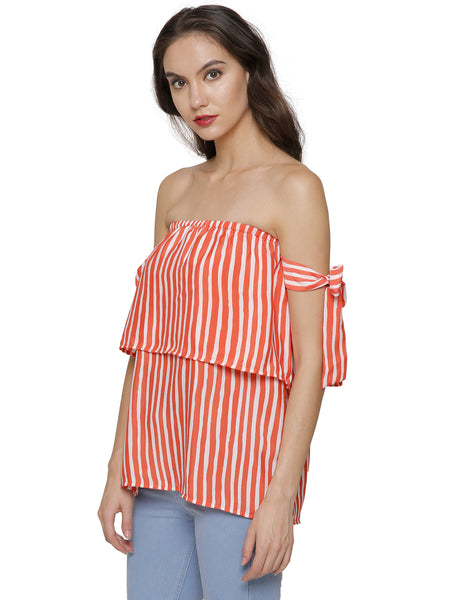 Bow Striped Off Shoulder Top