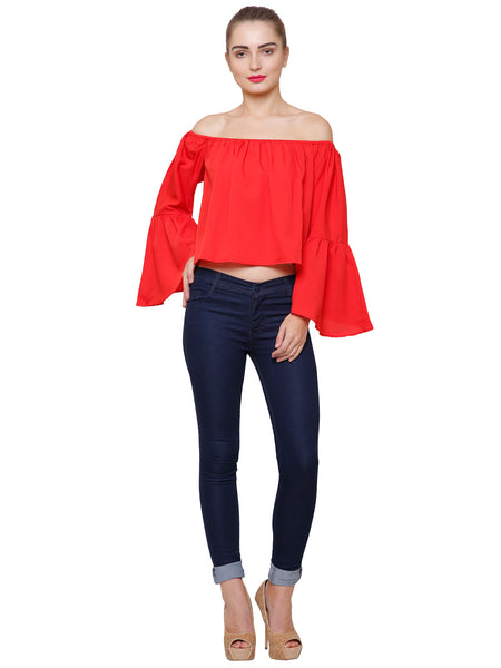 Rita Red Off Shoulder Top