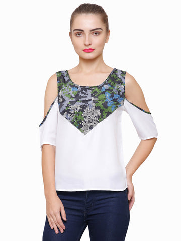 Ally Camo Cold Shoulder Top