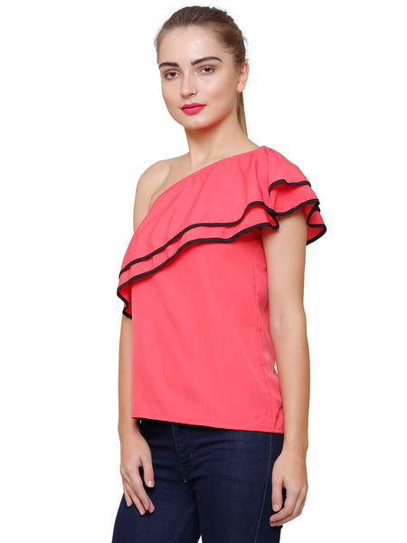 Coral Twin Ruffles One Shoulder Top