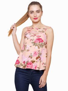 Pink Love Caged Neck Floral Top