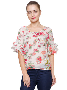 Hayley Ruffle Sleeve Floral Top