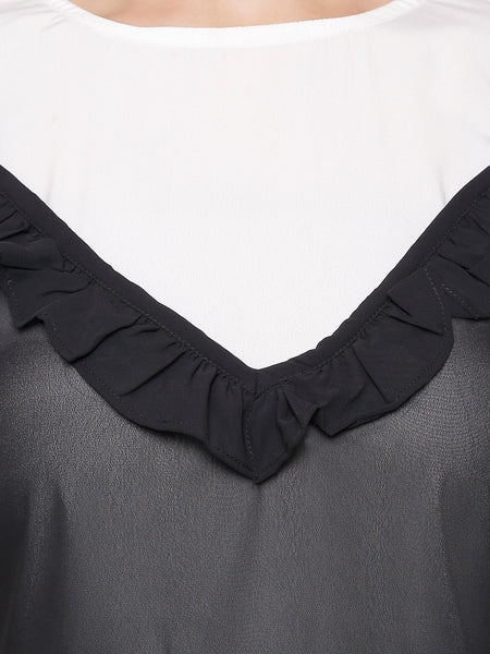 Frill'ing Around Monochrome Top