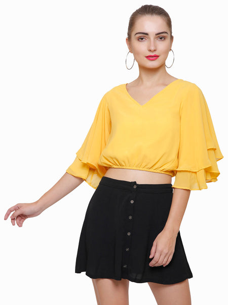 So Retro Layered Bell Crop Top