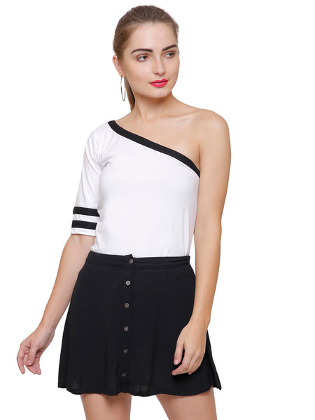 Monochrome One Shoulder Top