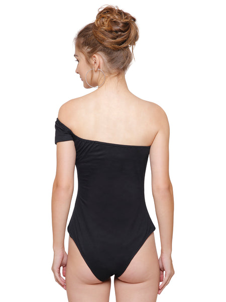 Fiona Black One Shoulder Bodysuit