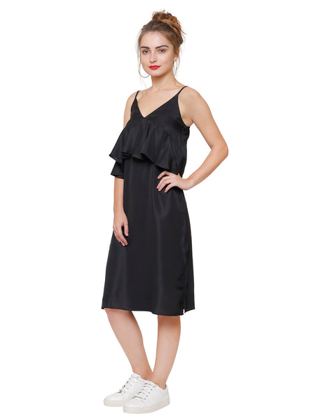 Arianna Black Midi Dress