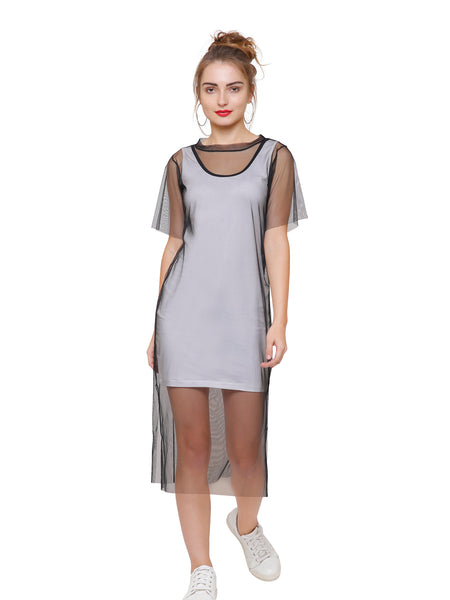 Kendall Sheer Overlay Monochrome Dress