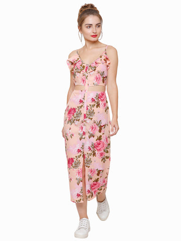 Pink Please Floral Cut Out Maxi dress