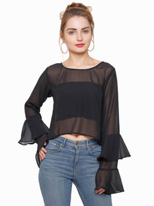 Kylie Black Sheer Bell Top