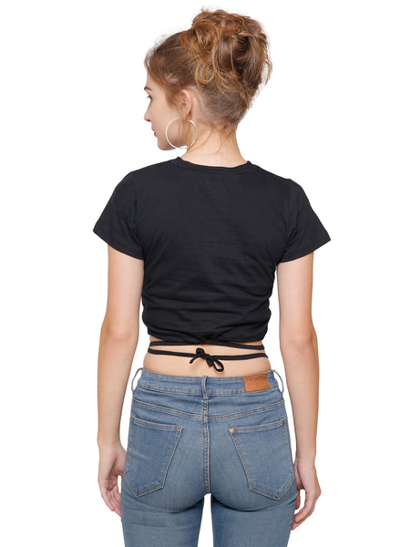 Kayla Black Tie Around Crop Top
