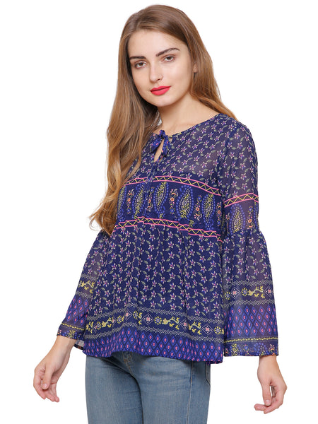 Belle Printed Bell Top