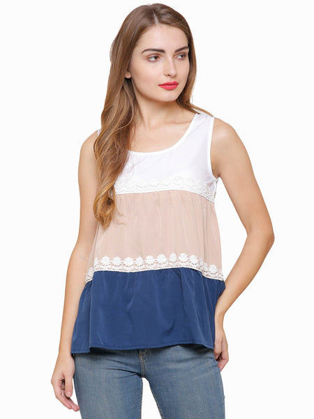 Sarah Colour Block Lace Top
