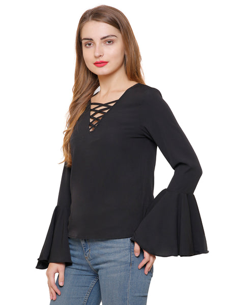 Scarlett Cage Bell Sleeve Black Top