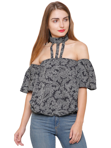 Sasha Choker Off-shoulder Top