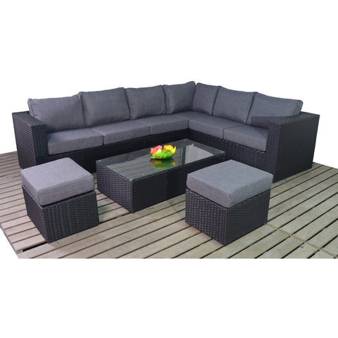 Port Royal Prestige Large Right Corner Rattan Set in Black with Coffee Table and Stools