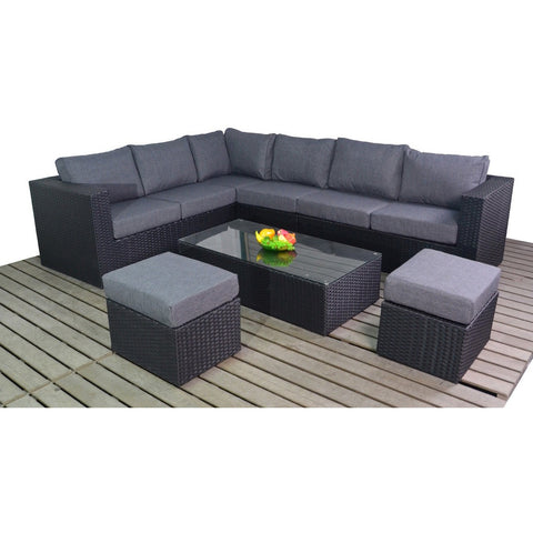 Port Royal Prestige Large Left Corner Rattan Set in Black with Coffee Table and Stools