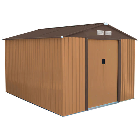 Charles bentley 8ft x 10ft metal garden shed in brown for Extra large metal sheds