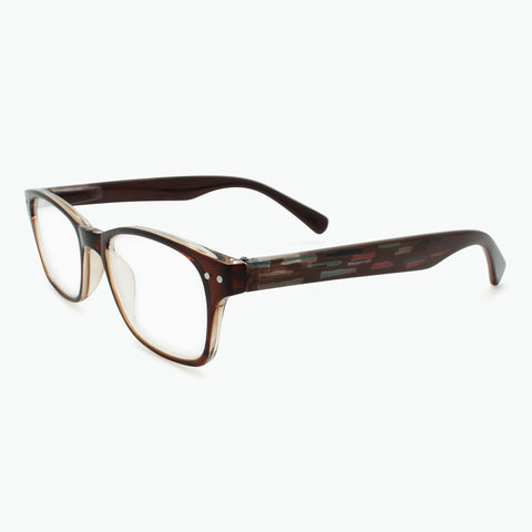 Rectangle Reading Glasses with Mosaic Woodgrain Temples l Fully Magnified Lenses R-437
