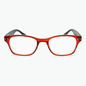 RED frame front reading glasses with colorful woodgrain temples