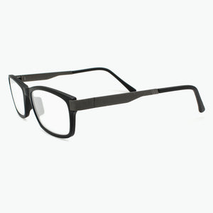 Matte Black Modern Rectangular Reading Glasses for Men Side View