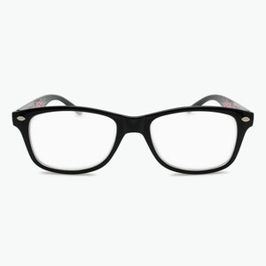 Black Front with Multi-Colored Temples Rectangle Reading Glasses Women