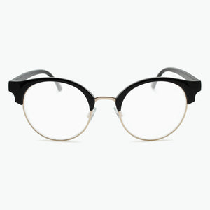 BLACK Retro Round Browline Reading Glasses with gold metal rim