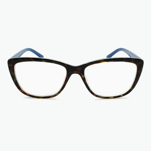 Colorful Tortoise Front Cateye Reading Glasses with BLUE temples