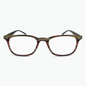 Red and tan striped frame front with BLACK temples reading glasses