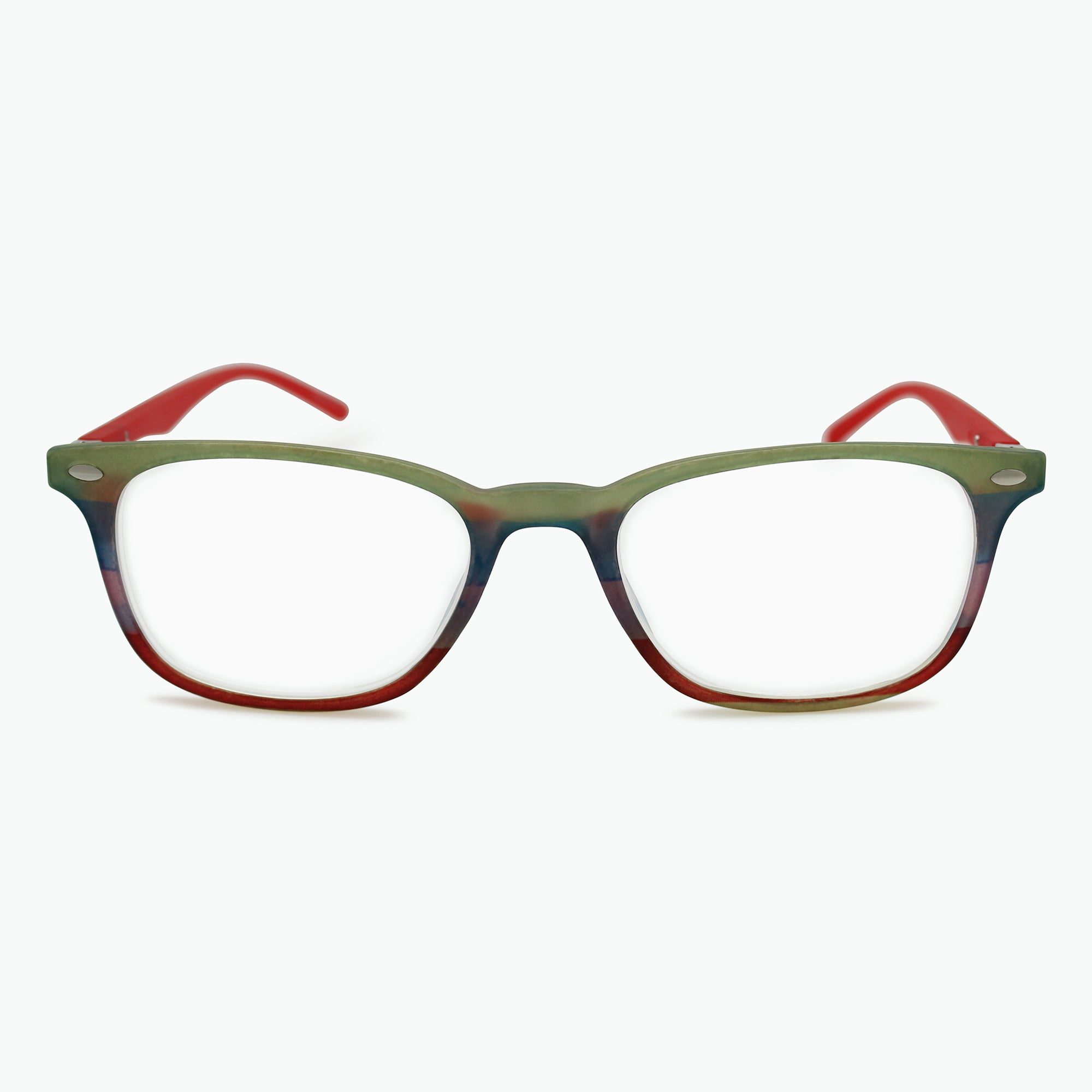 Colorful Striped Retro Square Reading Glasses l Fully Magnified Lenses R-603