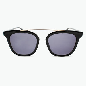 Black Frame with Floating Gold Bridge Fashion Sun Readers with Fully Magnified Grey Tinted Lenses