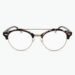 Multi colored Preppy Round frame with Floating Metal Brow Bar Reading Glasses