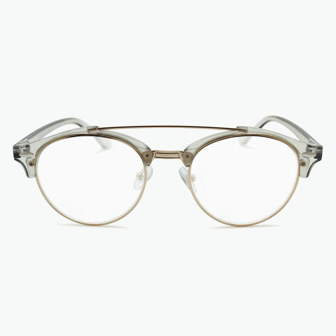 Preppy Round Metal Brow Bar Reading Glasses l Fully Magnified Lenses R-632