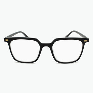 BLACK Retro 80s Square Shaped Reading Glasses with gold accents