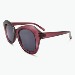 Burgundy Oversized Reading Sunglasses for Women Fully Magnified with Gray Tinted Lenses side view