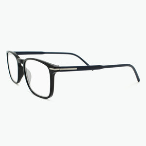Black Thin Rimmed Classic Square Reading Glasses with Dark Blue Temples Side View
