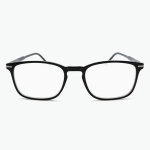 Black Thin Rimmed Classic Square Reading Glasses with Dark Blue Temples